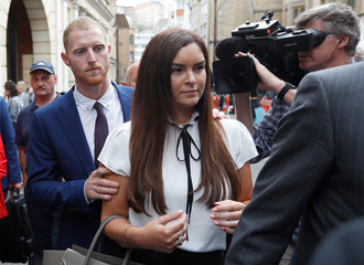 England cricket player Ben Stokes and his wife Clare Ratcliffe leave Bristol Crown Court after he was acquitted of affray in Bristol