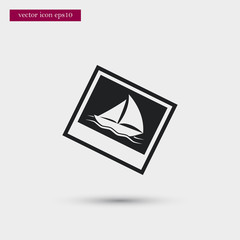 Yacht on photo icon. Simple travel element illustration. Holiday symbol design from summer collection. Can be used in web and mobile.