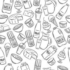 dairy product seamless pattern