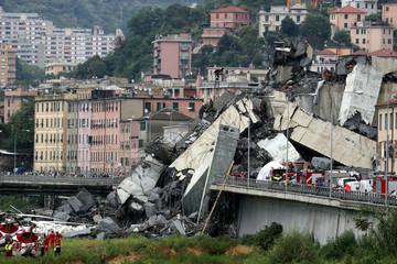 The collapsed Morandi Bridge is seen in the Italian port city of Genoa