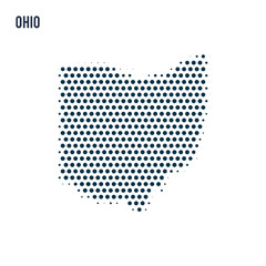 Dotted Ohio map isolated on white background.