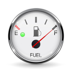 Fuel gauge. Full tank. Round car dashboard 3d device with chrome frame