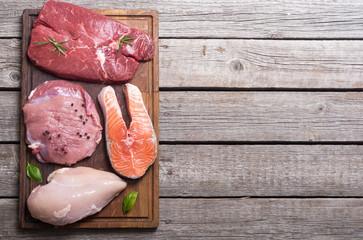 salmon , beef , pork and chicken