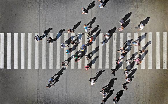 Pedestrian crosswalk aerial view from above