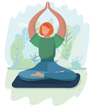 Young woman in the lotus position is meditating.