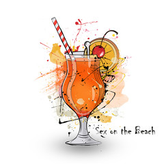 Hand drawn illustration of cocktail Sex on the beach.