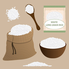 White rice vector set. Rice icon set. Vector.