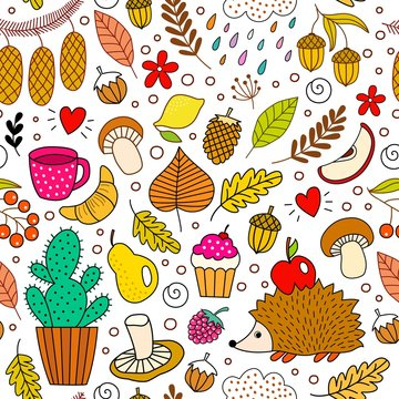 Happy autumn background with hedgehog, leaves, mushrooms, berries, acorns, fruits, cactus. Seamless pattern in doodle style