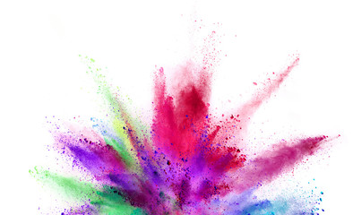 Fototapete - Explosion of coloured powder isolated on white background