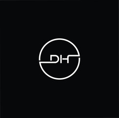 Initial letter DH HD minimalist art monogram circle shape logo, white color on black background