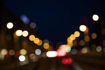 colorful bokeh from night traffic