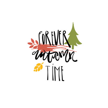 Forever autumn time badge isolated design label
