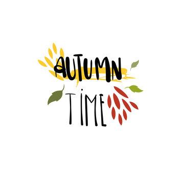 Autumn time badge isolated design label season