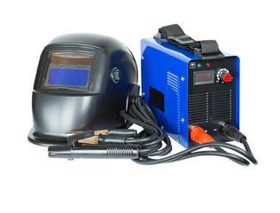 Welding machine and mask. Electro welding equipment. isolated
