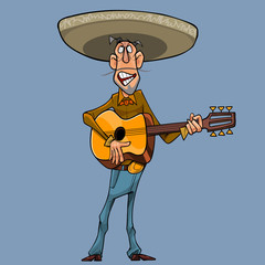 cartoon singer in a sombrero plays the guitar