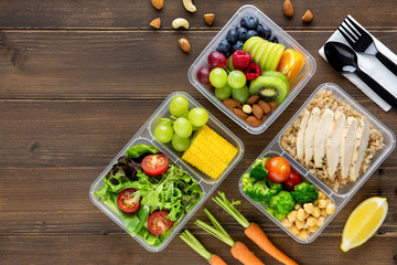 Clean healthy low fat ready to eat food in meal boxes