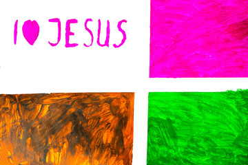 Child's drawing, I love Jesus text writing on heart