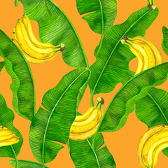 Seamless watercolor pattern with banana fruit and leaves.