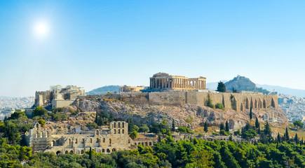 Fototapete - Parthenon acropolis sky sun  Athens Greece