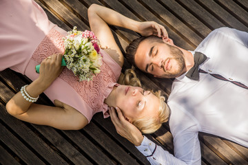 Portrait of Bride and Groom from Above