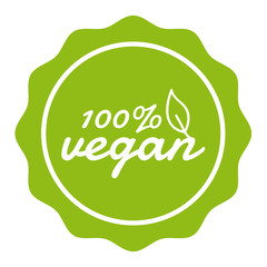 Wall Mural - 100% Vegan Button Banner Badge. Eps10 Vector.