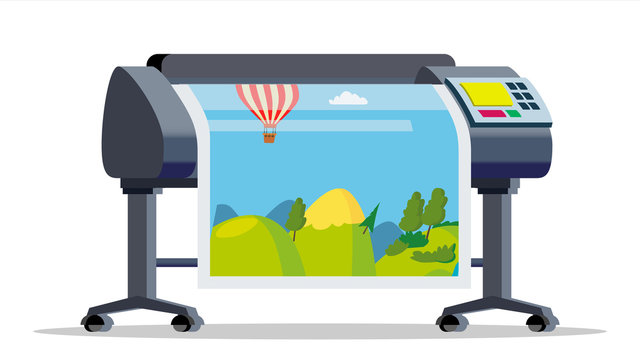 Plotter, Printer Vector. Large Format Multifunction Printer. Polygraphy, Printshop Service. Isolated Flat Cartoon Illustration