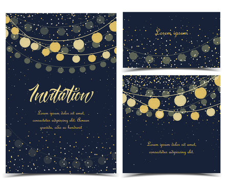 Vector illustration chain of lanterns. Invitation card, party celebration. Set of greeting cards