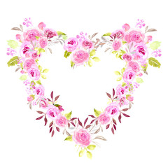 Heart pink floral frame watercolor