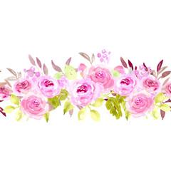Watercolor pink rose seamless border