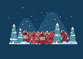 Cartoon snow home and rural cottages set.