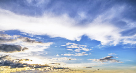 Background with magic of the clouds and the sky at dawn, sunrise, sunset