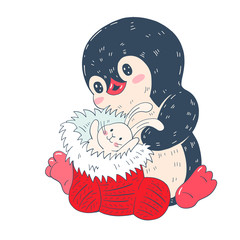 Winter illustration with funny cartoon penguin with Christmas sock and a toy Bunny  isolated on a white background. Vector