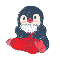 Winter illustration with funny cartoon penguin with Christmas sock  isolated on a white background. Vector