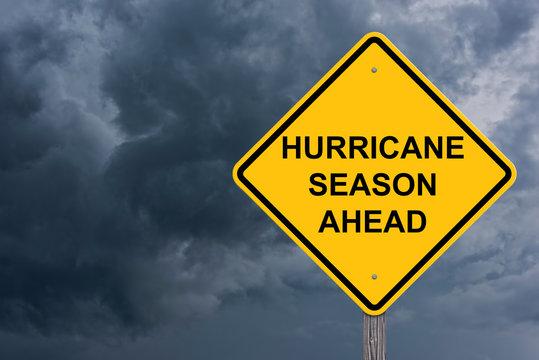Hurricane Season Ahead Caution Sign