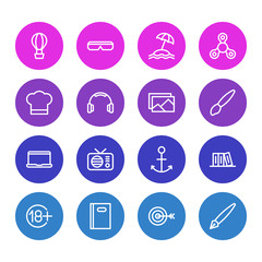 Vector illustration of 16 leisure icons line style. Editable set of headphone, brush, airship and other icon elements.