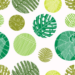 Vector seamless vintage floral pattern. Exotic leaves and polka dot.