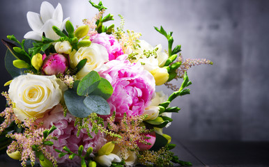 Composition with bouquet of freshly cut flowers Fotobehang