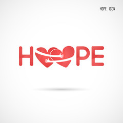 """Hope"" typographical.Hope word icon.Breast Cancer October Awareness Month Campaign Background.Women health vector design.Breast cancer awareness logo design.Breast cancer awareness month icon"