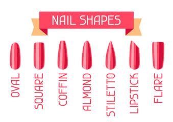 Acrylic nail shapes set.