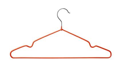 Empty red wire coat hanger