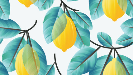 Seamless pattern, lemon fruit with blue leaves on branch on light blue background