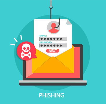 Phishing login and password on fishing hook in email envelope. Concept of Internet and network security. Hacking online scam on laptop. Flat style vector illustration.