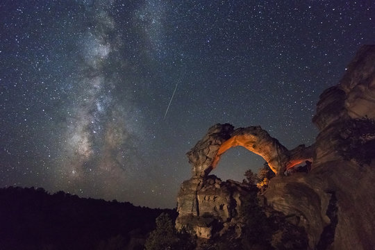 Milky way and night sky above a desert arch, Utah, USA.