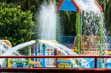 Water park, pool area for children on a sunny day
