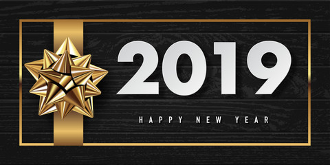 2019 happy new year vector greeting card and poster design with golden ribbon and star.
