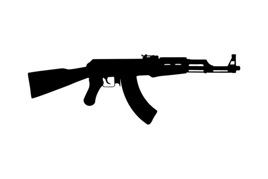 Kalashnikov AK47 machine gun. Silhouette