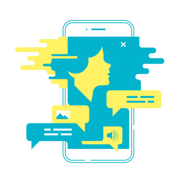 Chatting concept. Man chatting with chatbot on smartphone. Vector illustration