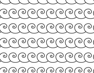 Set of wavy, zigzag, sinuous horizontal lines. Sea wave seamless pattern