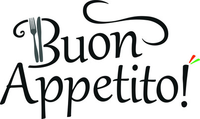 Buon Appetito Italian vector logo with wave, fork and knife