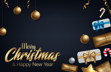 Happy Holidays flourish golden calligraphy lettering of swash line gold typography for Christmas greeting card design. Vector festive golden decoration and New Year text on holiday black background